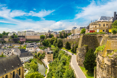 Panoramic aerial view of Luxembourg in a beautiful summer day, Luxembourg