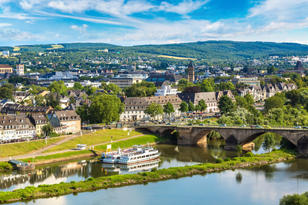 Panoramic aerial view of Trier in a beautiful summer day, Germany. Stock Photo