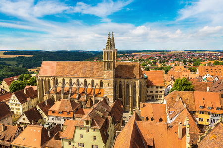 Panoramic aerial view of Rothenburg and church St. James in a beautiful summer day, Germany