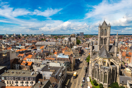 Panoramic view with Saint Nicholas Church in Gent in a beautiful summer day, Belgium