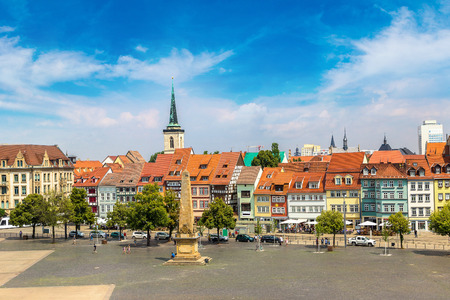 Historical city centre in Erfurt in a beautiful summer day, Germany