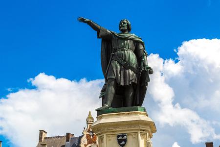statesman: Statue of Jacob van Artevelde in Gent in a beautiful summer day, Belgium Stock Photo