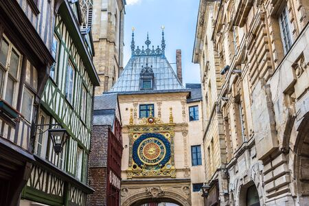 rue: Clock in the Rue du Gros-Horloge in Rouen in a beautiful summer day, France