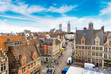 benelux: Panoramic aerial view of Gent in a beautiful summer day, Belgium