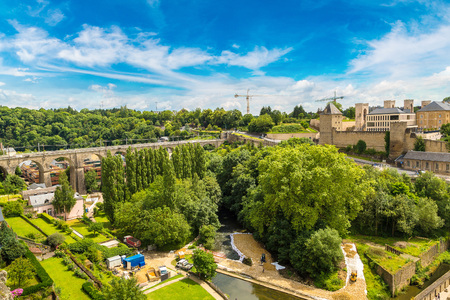 benelux: Panoramic view on Abbaye de Neumunster and St. Jean du Grund church in Luxembourg a beautiful summer day, Luxembourg