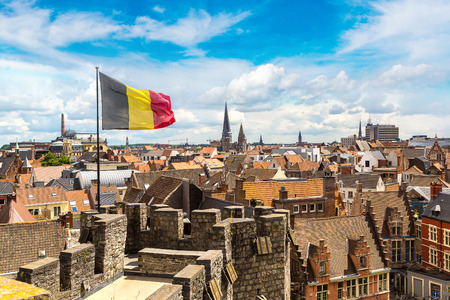 Medieval castle Gravensteen (Castle of the Counts) in Gent in a beautiful summer day, Belgium Editorial