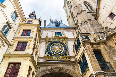 Clock in the Rue du Gros-Horloge in Rouen in a beautiful summer day, France