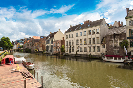 benelux: Canal in the old town in Gent in a beautiful summer day, Belgium