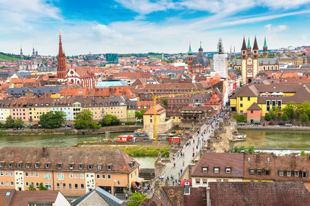 bayern old town: Panoramic aerial view of Wurzburg in a beautiful summer day, Germany