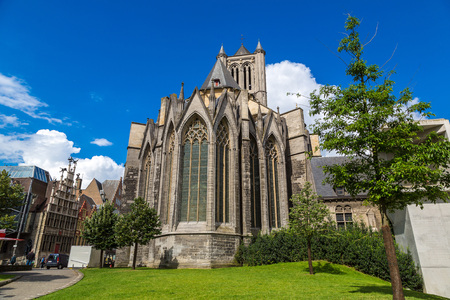 benelux: Facade of St. Nicholas Church in Gent in a beautiful summer day, Belgium