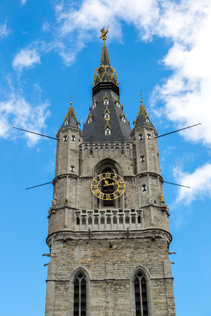 Facade of St. Nicholas Church in Gent in a beautiful summer day, Belgium