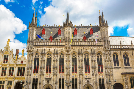 benelux: City hall in Bruges in a beautiful summer day, Belgium Stock Photo