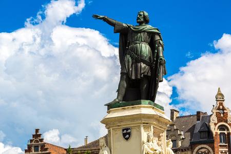 Statue of Jacob van Artevelde in Gent in a beautiful summer day, Belgium Editorial