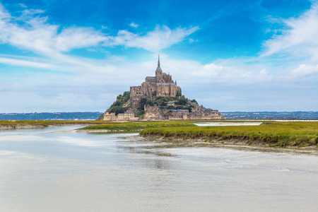 mount saint michael: Mont Saint Michele abbey in a beautiful summer day, France