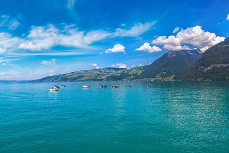 Thunersee lake in Switzerland in a beautiful summer day