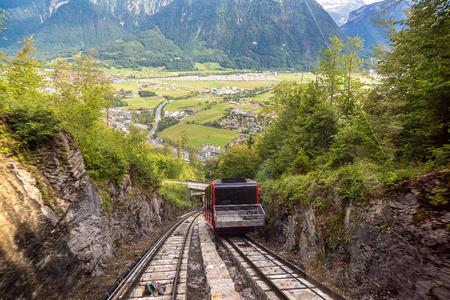harder: Funicular railway in Interlaken in a beautiful summer day, Switzerland
