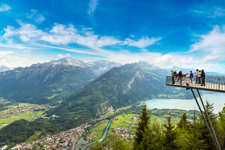 People standing on the observation deck in Interlaken in a beautiful summer day, Switzerland 스톡 콘텐츠