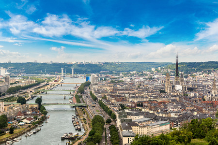 Panoramic aerial view of Rouen in a beautiful summer day, France Stok Fotoğraf