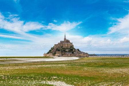 Mont Saint Michele abbey in a beautiful summer day, France