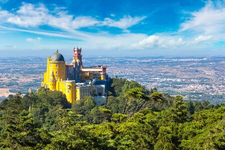 Panoramic view of Pena National Palace in Sintra in a beautiful summer day, Portugal Editorial