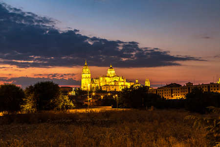 salamanca: Cathedral in Salamanca in a beautiful summer night, Spain Stock Photo