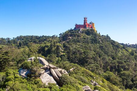 pena: Panoramic view of Pena National Palace in Sintra in a beautiful summer day, Portugal Editorial