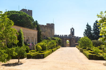 Medieval Templar castle in Tomar in a beautiful summer day, Portugal