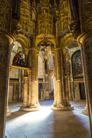 Interior of the Manueline church in medieval Templar castle in Tomar in a beautiful summer day, Portugal