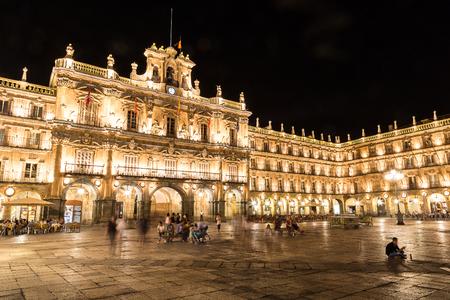 광장 시장, 살라망카의 메인 광장, 아름다운 여름 밤, 스페인 스톡 콘텐츠