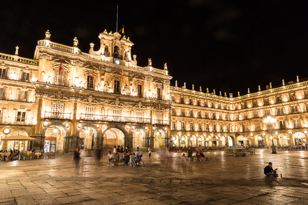 Plaza Mayor, main square in Salamanca in a beautiful summer night, Spain