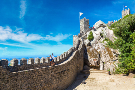 The Castle of the Moors in Sintra in a beautiful summer day, Portugal