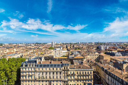 Panoramic aerial view of Bordeaux in a beautiful summer day, France