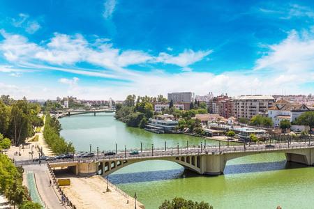 Guadalquivir river in Sevilla in a beautiful summer day, Spain