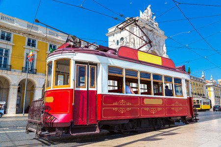 tramway: Vintage tram in the city center of Lisbon in a beautiful summer day, Portugal