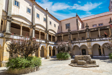 convento: Central square of the inside medieval Templar castle in Tomar in a beautiful summer day, Portugal