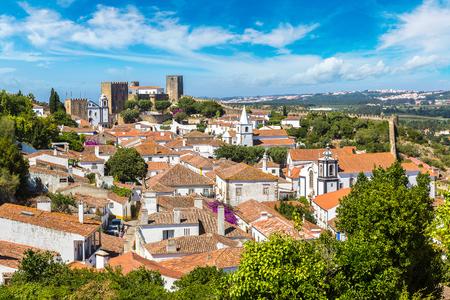 중세 마 Obidos의 아름 다운 여름날, 포르투갈의 파노라마 공중보기