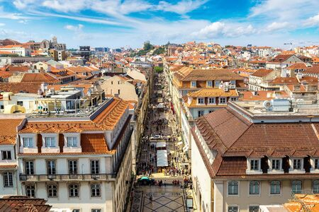 Panoramic aerial view of Lisbon in a beautiful summer day, Portugal Stock Photo