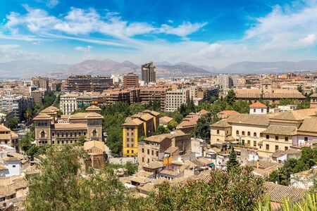 Panoramic aerial view of Granada in a beautiful summer day, Spain Stock Photo