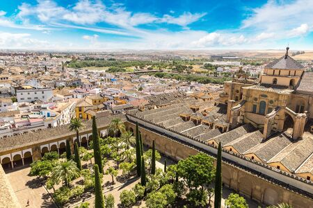 Panoramic view of the Great Mosque (Mezquita Cathedral) in Cordoba in a beautiful summer day, Spain