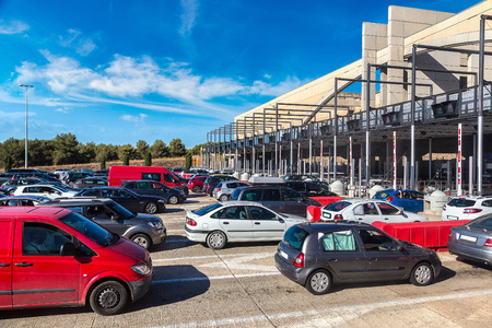 Cars passing through the toll station in a beautiful summer day, France Stock Photo