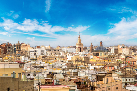 Panoramic aerial view of Valencia in a beautiful summer day, Spain