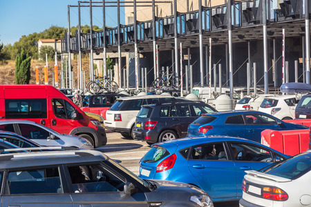 france station: Cars passing through the toll station in a beautiful summer day, France