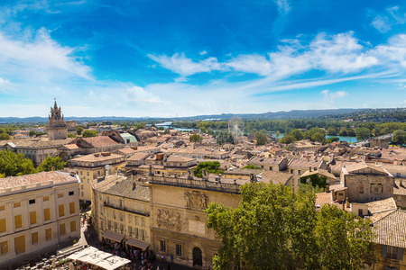 Panoramic aerial view of Avignon in a beautiful summer day, France Stock Photo