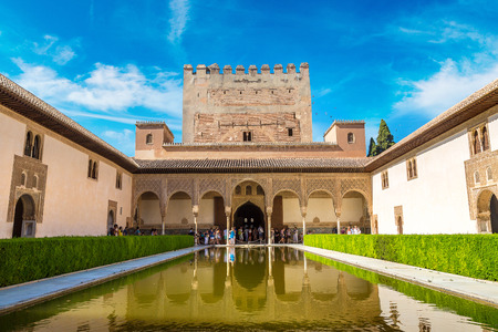 The Court of Myrtles of the Alhambra in Granada in a beautiful summer day, Spain