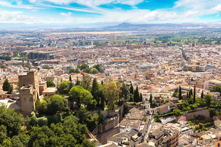 Panoramic aerial view of Granada in a beautiful summer day, Spain Фото со стока
