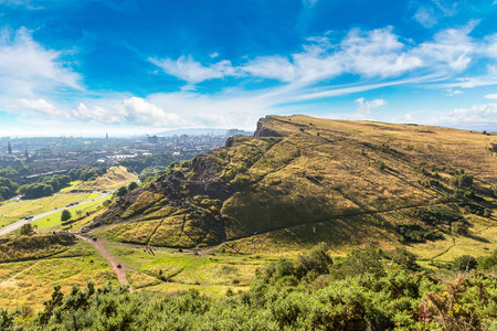 Cityscape of Edinburgh from Arthur's Seat in a beautiful summer day, Scotland, United Kingdom Stock Photo