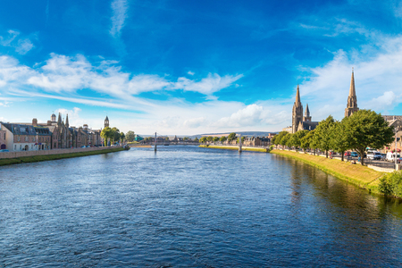 ness river: Cityscape of Inverness, Scotland in a beautiful summer day, United Kingdom