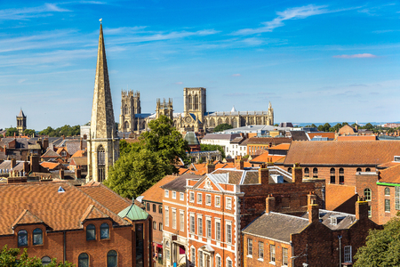 Panoramic aerial view of York in North Yorkshire in a beautiful summer day, England, United Kingdom