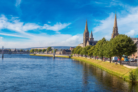 Cityscape of Inverness, Scotland in a beautiful summer day, United Kingdom Banco de Imagens - 70769319