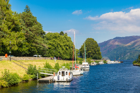 Fort Augustus and Loch Ness lake in Scotland in a beautiful summer day, United Kingdom Stock Photo